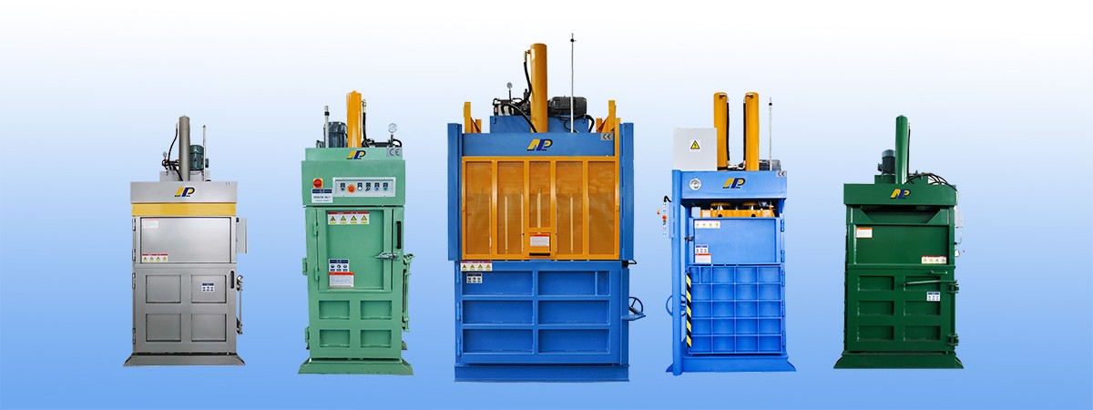Vertical baler machine for waste recycling
